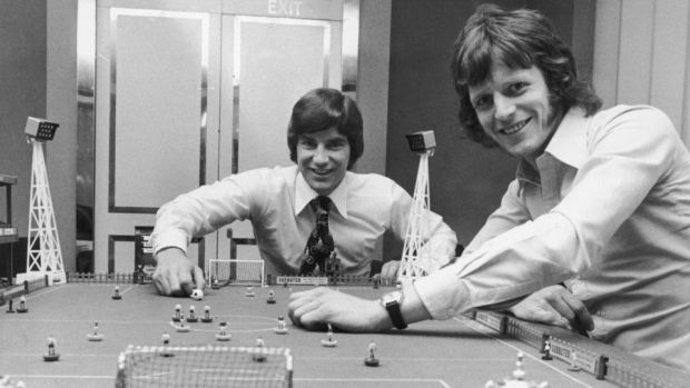 Martin Buchan of Manchester United and Mick Channon of Southampton engage in a game of Subbuteo before facing each other in the FA Cup final in 1976. Photograph: Getty Images)