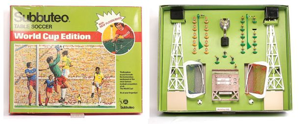The Subbuteo 1978 World Cup edition, complete with two floodlight pylons and a gleaming three-inch-tall replica of the Jules Rimet Trophy.