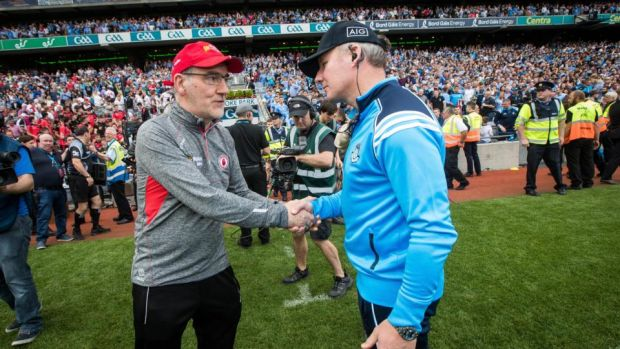 Rival managers: Mickey Harte of Tyrone and Jim Gavin at last month's All-Ireland semi-final. Photograph: Ryan Byrne/Inpho