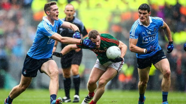 Mayo will need their experienced players like Colm Boyle to shore up the middle of their defence and push Dublin's attack towards the sidelines. Photograph: Cathal Noonan/Inpho