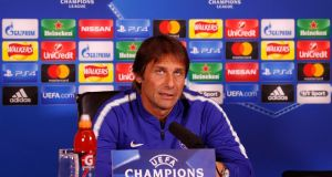"Antonio Conte: ""It's normal when you have to play seven games in 21 days to rotate my players."" Photograph: Adrian Dennis/Getty"