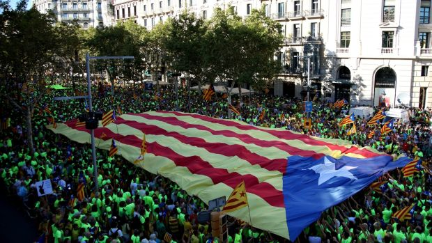 People march during a demonstration celebrating Catalonia's national day, in Barcelona, Spain. Photograph: Sandra Montanez/Getty Images