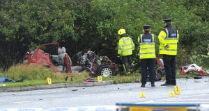 The scene of a fatal car crash on the N17 outside Claremorris in Co Mayo in which three people were killed. Photograph:  Conor McKeown.