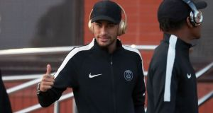 Paris Saint-Germain's Neymar on a visit with the squad to Celtic Park in Glasgow. Photograph: Andrew Milligan/PA