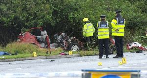 The scene of the fatal car crash on the N17 outside Claremorris, Co Mayo. Photograph: Conor McKeown