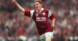 Michael Donnellan celebrates scoring a point for Galway in the 1998 All-Ireland final. It was their first victory since the famous three-in-a-row of the mid-1960s. Photograph: Patrick Bolger/Inpho