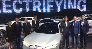 Dr Harald Krüger, chariman of BMW Group (third from right) joins the firm's executives as he introduces the BMW i Vision Dynamic