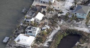 Damaged houses are seen in the aftermath of Hurricane Irma on September 11th, 2017 over the Florida Keys. Photograph: Matt McClain-Pool/Getty Images