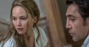 Left to right: Jennifer Lawrence and Javier Bardem in mother!