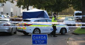 Gardaí at the scene of a fatal shooting on Wheatfields Avenue, Clondalkin. Photograph: Colin Keegan/Collins Dublin