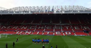 FC Basel warm-up at Old Trafford ahead of their Champions League clash with Manchester United on Tuesday night. Photograph: Paul Ellis/AFP