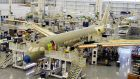 Bombardier's C Series aircraft being assembled.