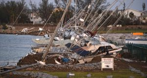 Damaged sail boats  in the aftermath of Hurricane Irma in Key West, Florida. Photograph Matt McClain-Pool/Getty Images