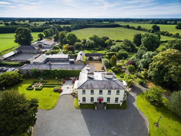 Aerial view of Wardenstown House, Co Westmeath. This 497sq m (5,346sq ft) house on 86 acres is for sale with Savill's and Egan Auctioneers for €2.2 million