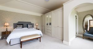 The master bedroom at Wardenstown House, Co Westmeath.