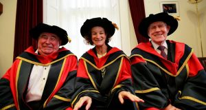 Professor John Coolahan,  Sonia O'Sullivan and Labhrás Ó Murchú at the ceremony in DCU where they were awarded Honorary Doctorates. Photograph: Nick Bradshaw
