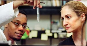 Jo Handelsman (right)  in the laboratory with a graduate student: 'Soil is probably the most critical resource right now.' Photograph: University of Wisconsin-Madison