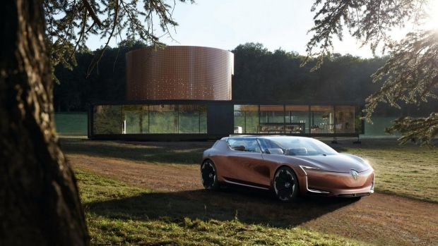 Called Symbioz, the 21-metre-long house has been installed in the Frankfurt show halls, and was co-designed by Renault styling chief Laurens van den Acker, and French firm Marchi Architectes. The idea is that the car, a 4.8-metre long, carbon-fibre, all-electric saloon, plugs into the house to either charge itself, or supply power to the house when necessary, and can also function as an extra space within the house when you need it.