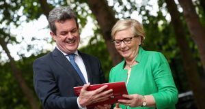 Launching the PwC 2017 'Irish CEO Pulse' Survey are Frances Fitzgerald, tánaiste and minister for Enterprise and Innovation with Feargal O'Rourke, managing partner, PwC.