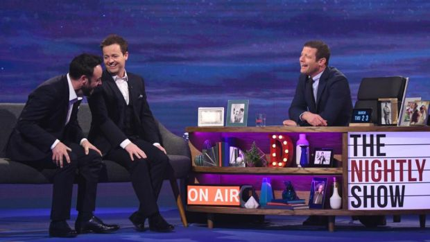 The Nightly Show: Dermot O'Leary with guests Ant McPartlin and Declan Donnelly. Photograph: Rex/Shutterstock