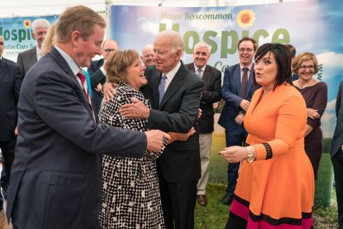 MAYO ROSCOMMON HOSPICE: Former US vice-president Joe Biden embraces Fionnuala Kenny, wife of former taoiseach  Enda Kenny, being greeted by Martina Jennings, chief executive of Mayo Roscommon Hospice Foundation, at the sod-turning for the new Mayo Roscommon Hospice in Castlebar, Co Mayo. Photograph: Keith Heneghan/Phocus