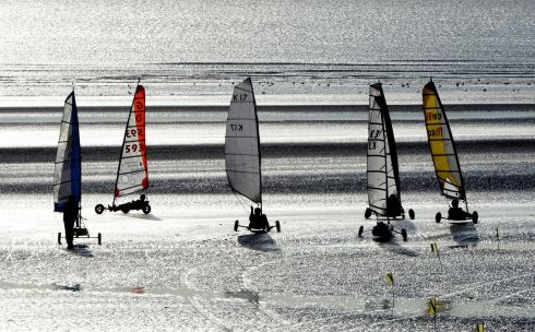BETTYSTOWN BLAST: Competitors in the European Sandyachting Championships race at  Laytown/Bettystown beach in Co Meath. The competition is organised by the Irish Power Kite & Sandyacht Association, Meath County Council and Boyne Valley Tourism. Photograph: Cyril Byrne/The Irish Times