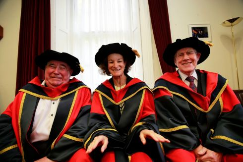 HONORARY DOCTORATES: DCU honours Prof John Coolahan, Sonia O'Sullivan and Labhrás Ó Murchú with honorary doctorates marking their outstanding contributions respectively to education, sport and culture. Photograph: Nick Bradshaw