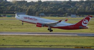 An  Air Berlin aircraft takes off  from Düsseldorf Airport, Germany. Photograph: Wolfgang Rattay/Reuters