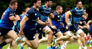 The Leinster squad going through their paces at training  at   UCD, Dublin. Photograph: Ryan Byrne/Inpho
