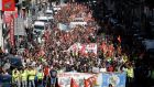 Workers demonstrate in Marseille, southern France, against changes to labour laws. Photograph: AP Photo/Claude Paris