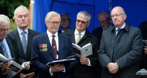 Kevin Myers, Ian Robertson of the Irish Guards Association, British ambassador  Robin Barnett and Minister for Justice  Charlie Flanagan at Tuesday's gathering in Co Laois. Photograph: Dara Mac Dónaill