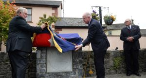 Minister for Justice  Charlie Flanagan with Cllr John King at the plaque unveiling   to commemorate the bravery of Lance-Sgt Jack Moyney VC,  in Rathdowney, Co Laois. Photograph: Dara Mac Dónaill