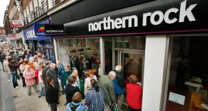 Run on the Rock: when queues of panicked savers formed outside Northern Rock branches in 2007 it was the first run on a British bank since the collapse of Overend & Gurney, in 1866. Photograph: Peter Macdiarmid/Getty