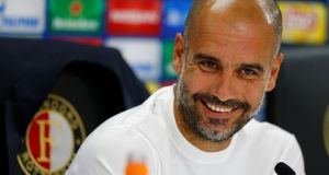 "Pep Guardiola: ""I don't know if we are able to compete. We are still in the process of growing."" Photograph: Michael Kooren/Reuters"