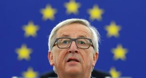 "European Commission president Jean-Claude Juncker addressing the European Parliament in Strasbourg: he said the EU must seize the moment of economic upturn  and ""catch the trade winds in our sails"". Photograph: Christian Hartmann/Reuters"