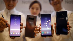 Samsung Galaxy Note 8: impressive display and cameras but the decision  to run the device on a smaller battery is sure to have an impact on performance. Photograph: Kim Hong-Ji/Reuters
