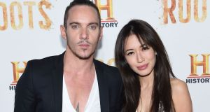 Jonathan Rhys Meyers with his wife Mara Lane. Photograph: Jamie McCarthy/Getty Images