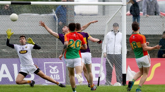 Brendan Murphy's late goal helped Carlow to a first Leinster victory since 2011. Photograph: Tommy Dickson/Inpho