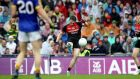 Paddy Durcan equalises for Mayo and takes the All-Ireland semi-final with Kerry to a replay. Photograph: Ryan Byrne/Inpho