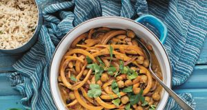 Roz Purcell's soup from peanut, squash and chickpea curry