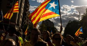Demonstrators celebrate the Catalan national day in Barcelona on Monday. Photograph: David Ramos/Getty Images