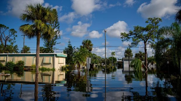 A flooded neighbourhood in Bonita Springs days after Hurricane Irma swept through Florida. Photograph: Eric Thayer/The New York Times