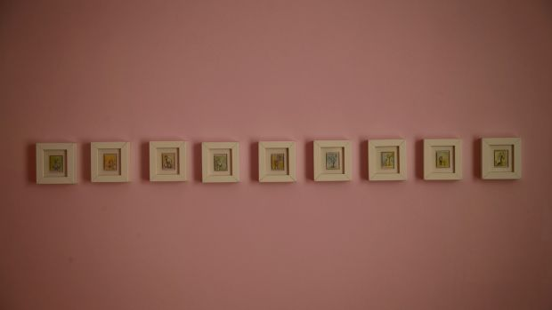 Amanda Eustace's series of nine tiny little paintings measuring two inches each by the Irish illustrator Barry Quinn. Photograph: Nick Bradshaw
