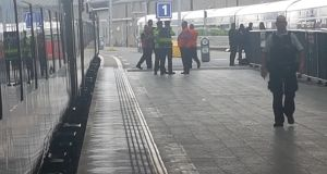 Gardaí on the scene of the weapon seizure at Connolly Station in July. Photograph: Paddy Logue