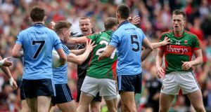 Referee Joe McQuillan awards Mayo a penalty during the semi-final against Dublin in 2015. Photograph: James Crombie/Inpho