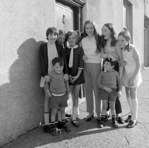 Catherine Byrne, Helen Boyle, Rose Byrne, Elaine Kane, Imelda Redmond, Ann Byrne and the Ryan Twins at 18 Abercorn Road, Dublin, the former home of Seán O'Casey. Photograph: Elinor Wiltshire