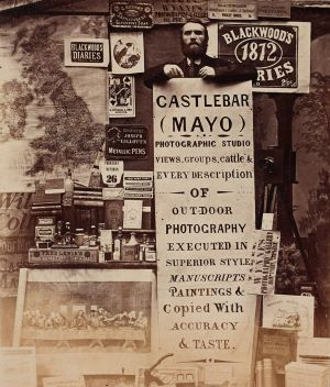 Thomas Wynne advertises his photographic studio, in Castlebar, Co Mayo. Photograph: Thomas Wynne