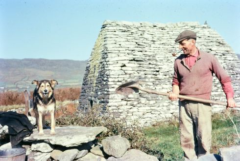 Seamus 'Jim' Johnson works outside Gallarus Oratory, Co Kerry. Photograph: Richard Tilbrook