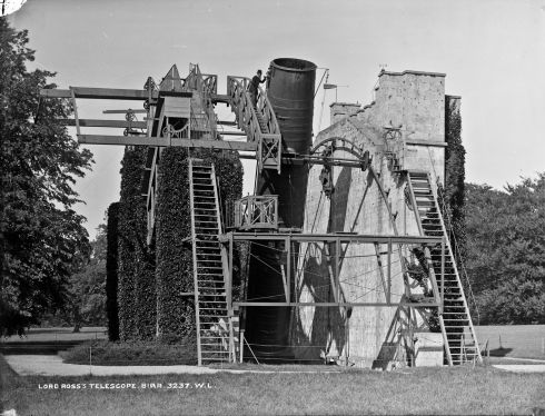 Lawrence Parsons with the Rosse Telescope, at Birr Castle, Co Offaly. Photograph: Robert French