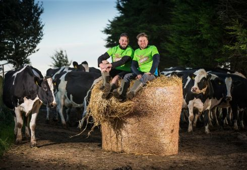 HIT THE HAY: The 2 Johnnies get down and dirty to launch D'hillbillies Mud Run 2017, which takes place on October 21st in Mitchelstown, Co Cork. Photograph: Cathal Noonan